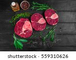 raw meat beef veal shank slices ... | Shutterstock . vector #559310626