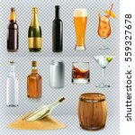 bottles and glasses  alcohol... | Shutterstock .eps vector #559327678