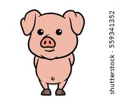 friendly and cute cartoon pig... | Shutterstock .eps vector #559341352