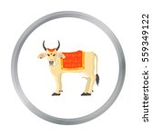 sacred cow icon in cartoon... | Shutterstock .eps vector #559349122