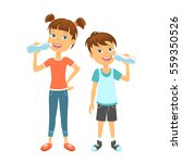 happy children drinking water | Shutterstock . vector #559350526