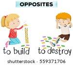 opposite words for build and... | Shutterstock .eps vector #559371706