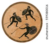 ancient greek soldiers. black... | Shutterstock .eps vector #559380016