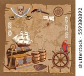 old pirate treasure map.... | Shutterstock .eps vector #559380892