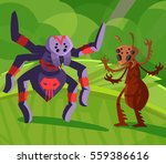 red ant and spider fighting | Shutterstock .eps vector #559386616