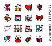 thin line art valentines day... | Shutterstock .eps vector #559393432