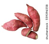 Small photo of Sweet potato / yam isolated on white, flat layout / top view, close up, image ratio 1 x 1 (square)