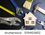 wooden house toy and... | Shutterstock . vector #559401802