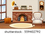 room with fireplace and vintage ... | Shutterstock .eps vector #559402792