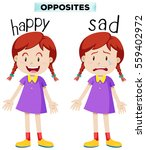 opposite words with happy and... | Shutterstock .eps vector #559402972