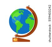 cartoon globe with world map on ... | Shutterstock .eps vector #559403242
