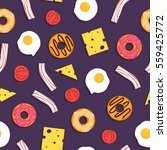 seamless pattern with fried... | Shutterstock .eps vector #559425772