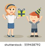 mom giving gift to her sons... | Shutterstock .eps vector #559438792
