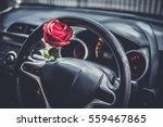 Red Roses Flower In Car For...