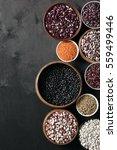 set of various beans in bowls ... | Shutterstock . vector #559499446