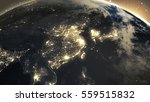 earth sunshine at east asia... | Shutterstock . vector #559515832