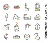 italy icons line vector... | Shutterstock .eps vector #559525678
