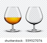 two brandy glasses  empty and... | Shutterstock .eps vector #559527076