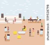 scenes of people working in the ... | Shutterstock .eps vector #559528798