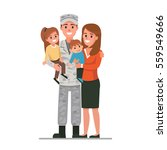 military man with his family.... | Shutterstock .eps vector #559549666