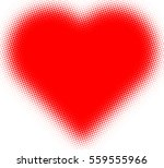Vector Dotted Heart . Grunge...