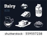 sketches of dairy products  ... | Shutterstock .eps vector #559557238