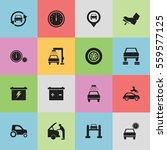 set of 16 editable transport... | Shutterstock .eps vector #559577125