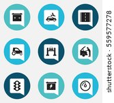 set of 9 editable vehicle icons.... | Shutterstock .eps vector #559577278