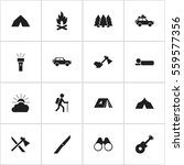 set of 16 editable trip icons.... | Shutterstock .eps vector #559577356