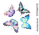 Butterfly  Watercolor  Isolate...