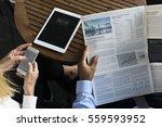 businesspeople reading... | Shutterstock . vector #559593952