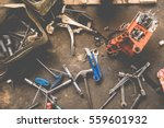many tools on dirty floor  set... | Shutterstock . vector #559601932