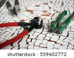 mosaic tiles and tools | Shutterstock . vector #559602772