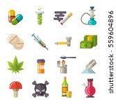 drugs icons set vector.... | Shutterstock .eps vector #559604896