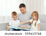 happy father and children... | Shutterstock . vector #559615768