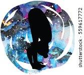 women silhouette on galaxy...   Shutterstock .eps vector #559617772