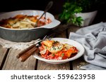 baked ricotta and spinach...   Shutterstock . vector #559623958
