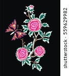 red roses embroidery on black... | Shutterstock .eps vector #559629982