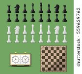 Chess Board And Chessmen Vector.