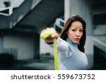 motivated latin woman doing... | Shutterstock . vector #559673752