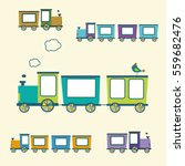 vector   cute trains