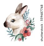 Stock photo watercolor bunny illustration cute little rabbit with flowers hand drawn painting perfect for 559687768