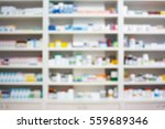 Blur Shelves Of Drugs In The...