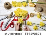 top view of florist hands... | Shutterstock . vector #559690876
