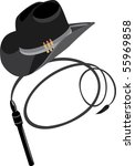 cowboy hat and whip. vector | Shutterstock .eps vector #55969858