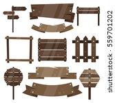 a set of wooden plates.... | Shutterstock .eps vector #559701202