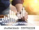 businessman hand working with... | Shutterstock . vector #559702228