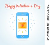 smartphone with sealed love sms ... | Shutterstock .eps vector #559703782