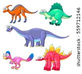 group of funny dinosaurs.... | Shutterstock .eps vector #559712146