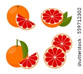 icon grapefruit. set with whole ... | Shutterstock .eps vector #559712302